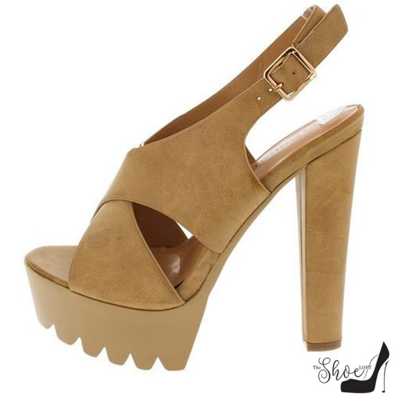 De Blossom Collection Shoes - Simi Tan Lug Sole Slingback Heels